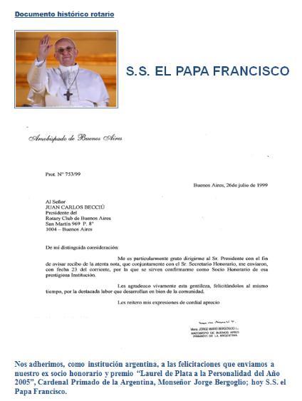 Bergoglio/pape François membre honoraire du Rotary Club de Buenos Aires